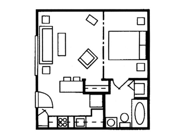 One Bedroom Studio